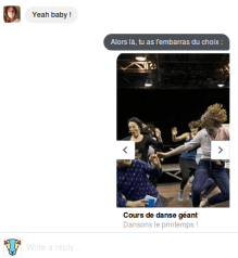 Un exemple de conversation sur Messenger