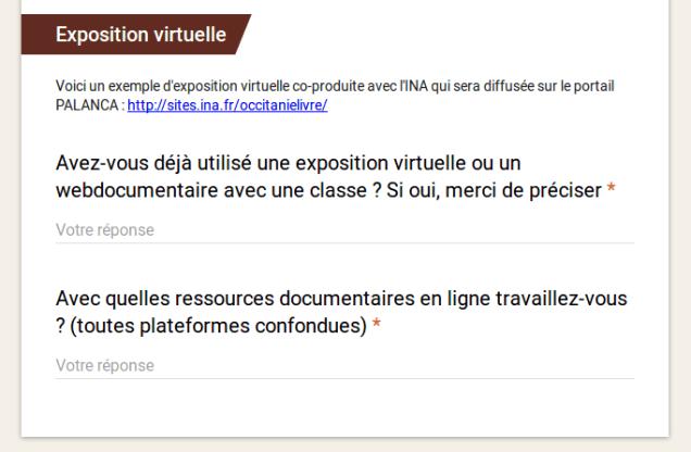 deux questions portant sur l'utilisation d'expositions virtuelles