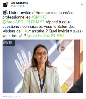 Capture d'écran d'un tweet sur l'interview d'Amal Abou El Ghayt