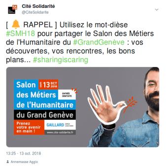 Capture d'écran d'un tweet de rappel pour le hashtag #SMH18