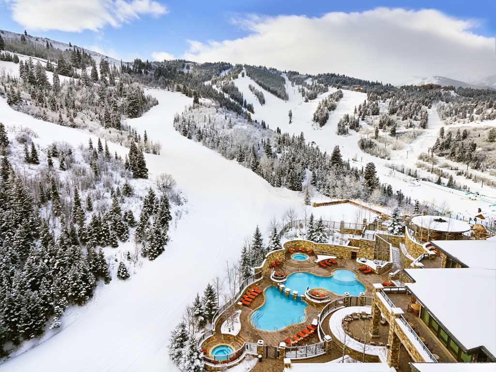 The St. Regis Deer Valley. Winter Exterior. Aerial view of pools.