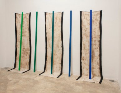 Gradient chroma key blue and green on aluminum, bleached linen 280cms x 180cms x 40cms 2013
