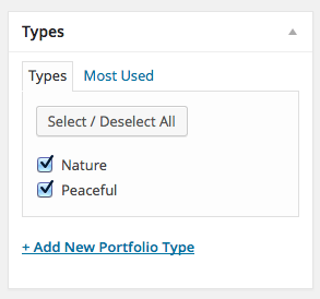 Adding Portfolio Type taxonomy in Minimum Pro