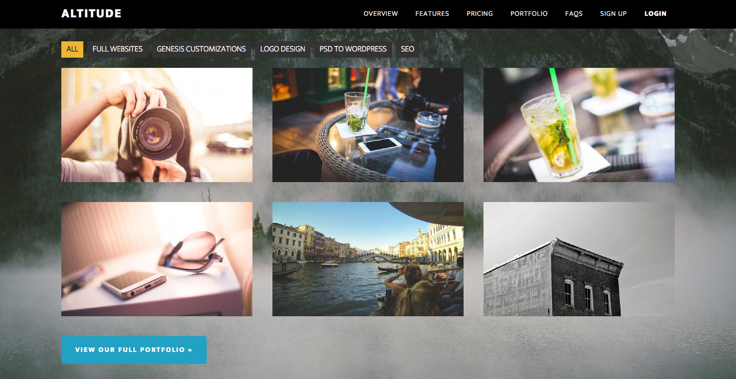 Filterable Portfolio Grid on Front page and Archive page in