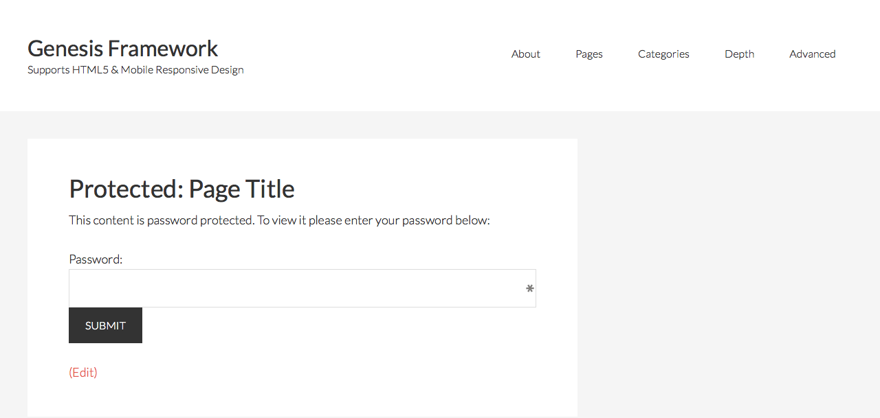 How to remove Primary sidebar from Password Protected pages in