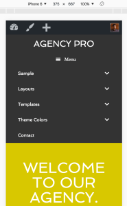 "Adding the word ""Menu"" next to the hamburger icon in Agency Pro"