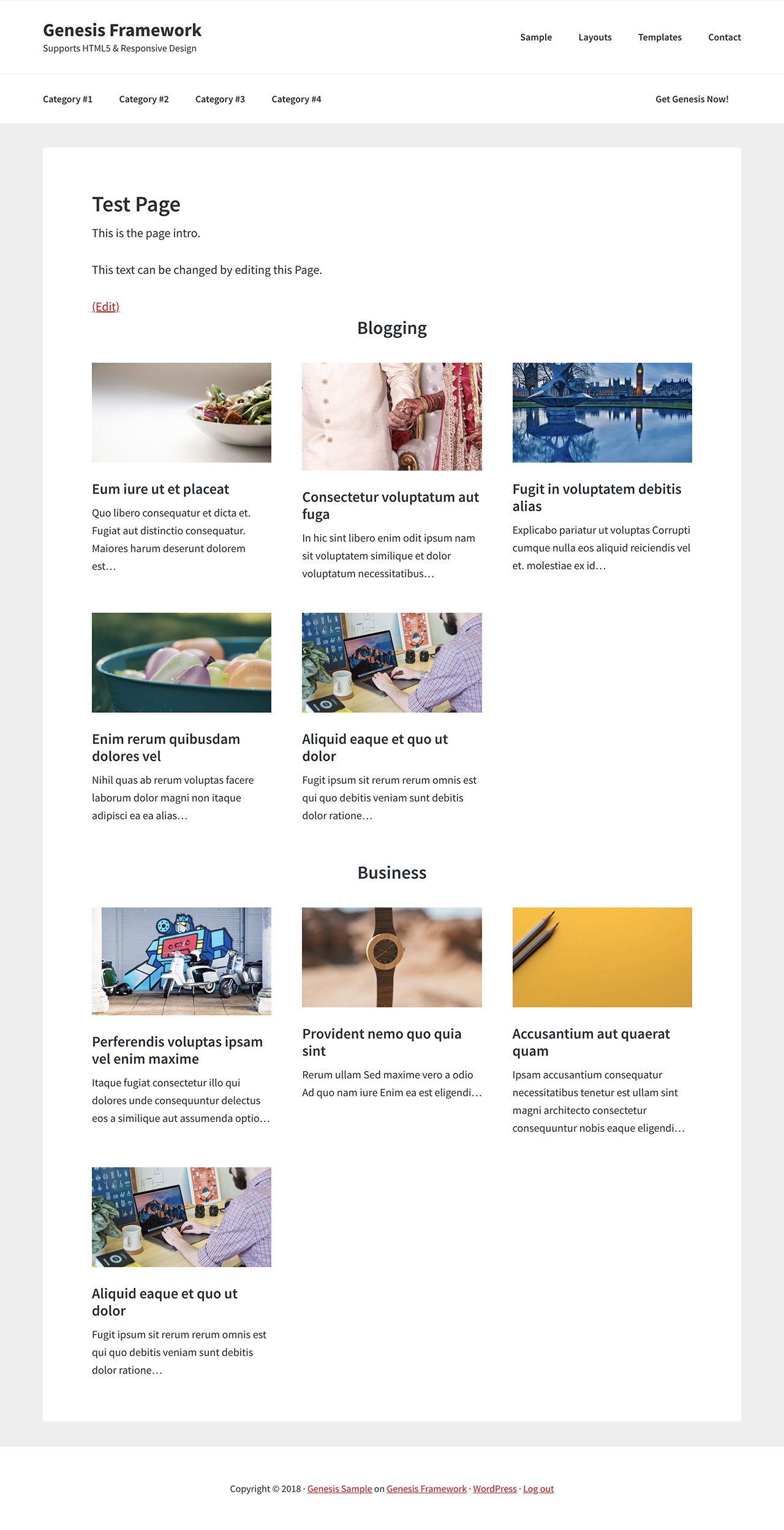 Custom Page Template to show posts grouped by selected categories