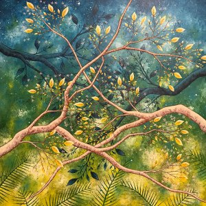 painting of tree branches entangled