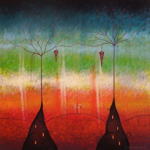 painting of magical creatures under flame trees