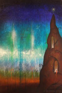 painting of magical creatures in a tower
