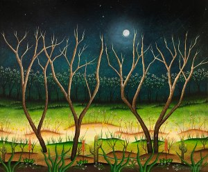 painting of forest in moonlight