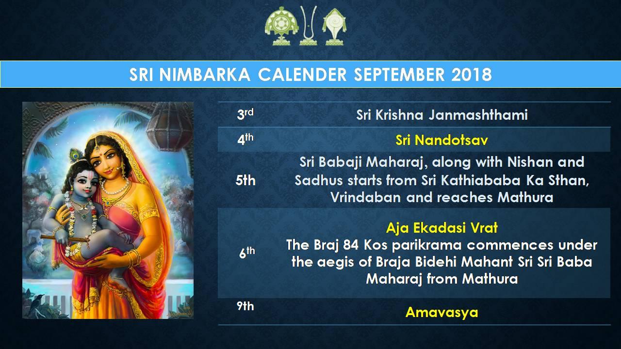 Nimbarka Calendar (English) - September 2018