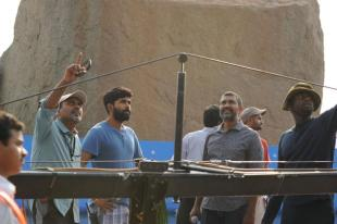 Srinivas on the sets of Baahubali with director Rajamouli and cinematographer Senthil Kumar