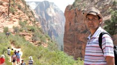 Just about to climb Angel's landing, one of the toughest hikes in Zion!!