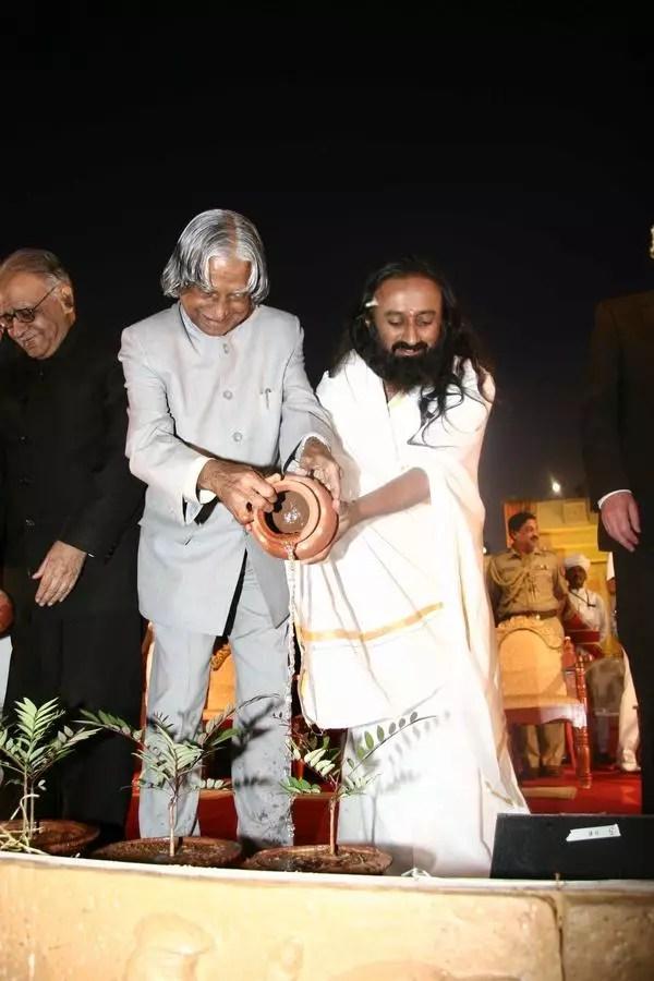 Sri Sri Ravi Shankar and APJ Abdul Kalam Silver Jubilee tree plantation
