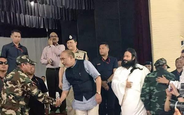 Manipur militants surrender in presence of CM Biren Singh and Swami Bhavyatej from Art of Living.