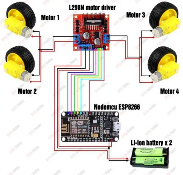 WIFI controlled car using Nodemcu circuit diagram