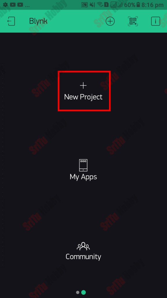 First, download and install the Blynk app from your mobile phone. Then, sign up for this app using your Gmail. Next, click the new project button.