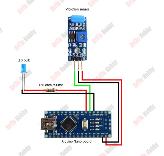SW 420 vibration sensor with Arduino circuit diagram