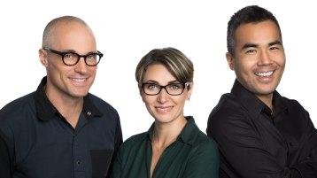 Three people in a headshot