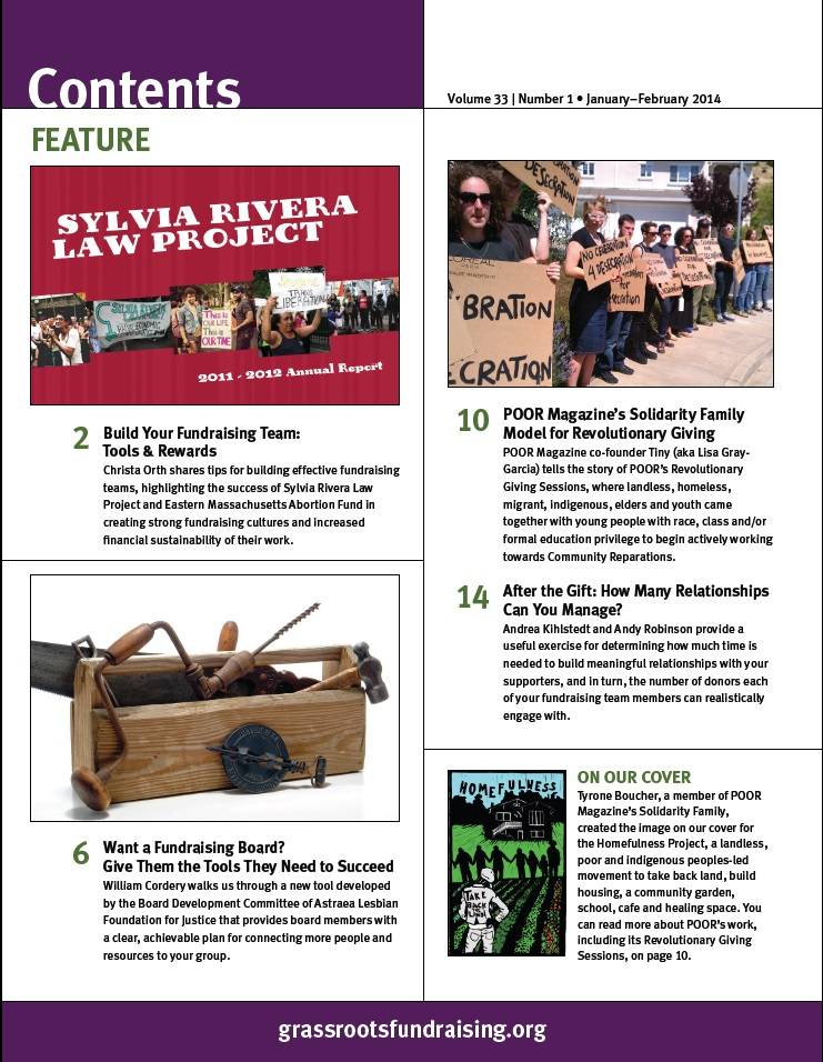 SRLP featured in the Grassroots Fundraising Journal