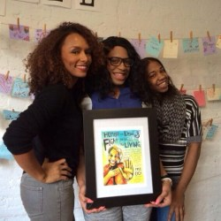 Janet Mock, Cece McDonald, and Rai'vyn Cross with Micah Bazant's art!