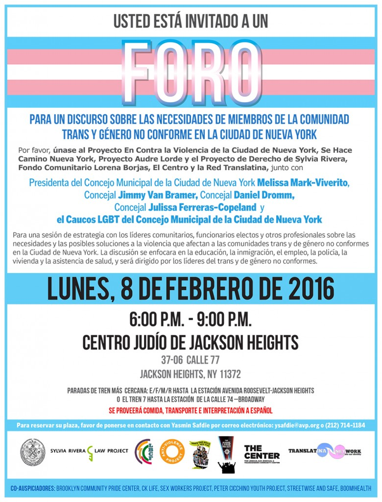 Spanish flyer for trans health forum