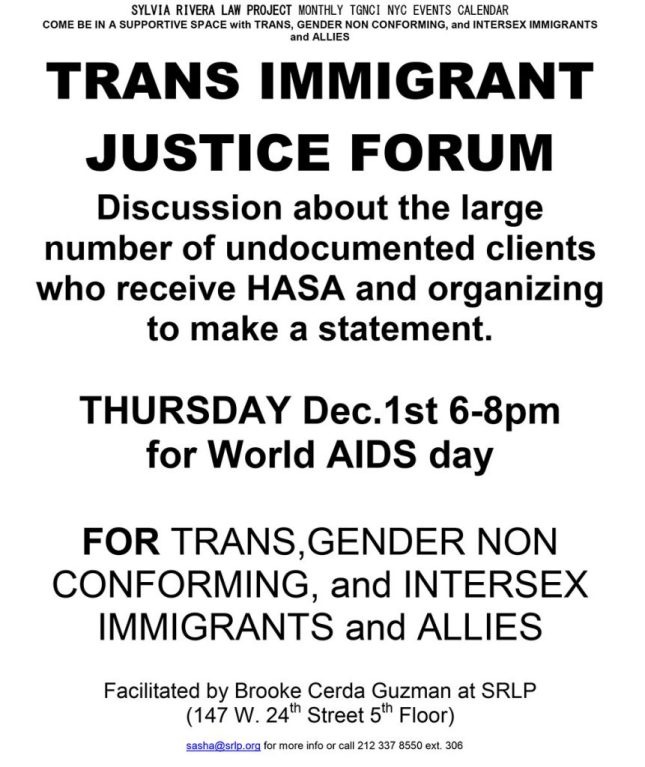 FLYER FOR SRLP TRANS IMMIGRANT JUSTICE SPACE 12.1
