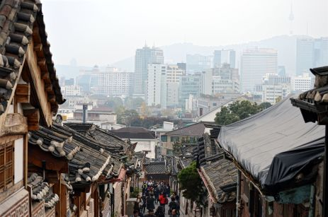 View of modern Seoul from the historical Bukchon Hanok village.