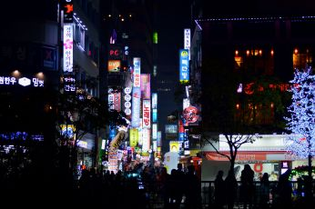 The many neon signs at the Jonggak Avenue of Youth.