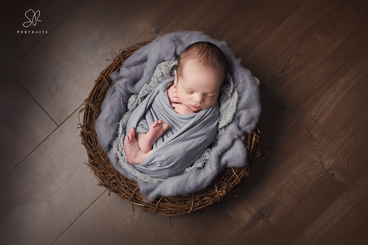 Leicestershire Newborn Photography baby in wooden bowl