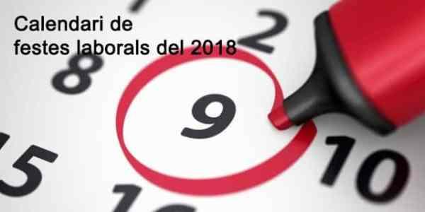Calendari de festes laborals del 2018