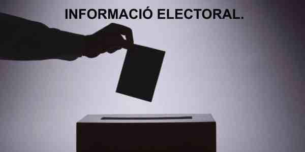 INFORMACIÓ ELECTORAL.  ELECCIONS CATALANES 21 DESEMBRE 2017