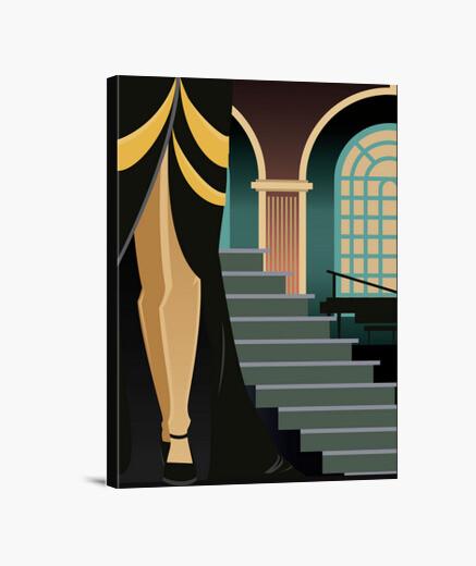tableau art deco toile elegant decoratif illustration retro escalier femme jambes