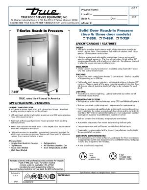 Download free pdf for True T49F Freezer manual