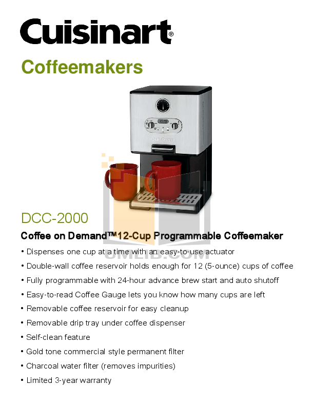 Manual Maker Coffee Dcc 2000 Cuisinart