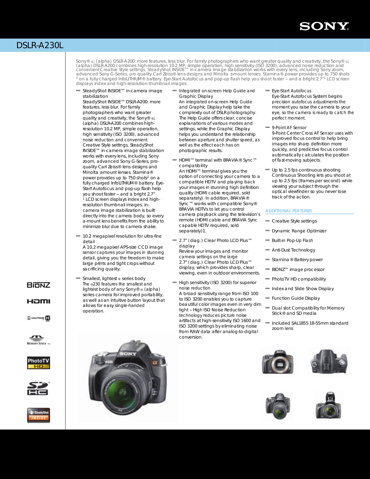 Download Free For Sony Dslr A200 Digital Camera Manual