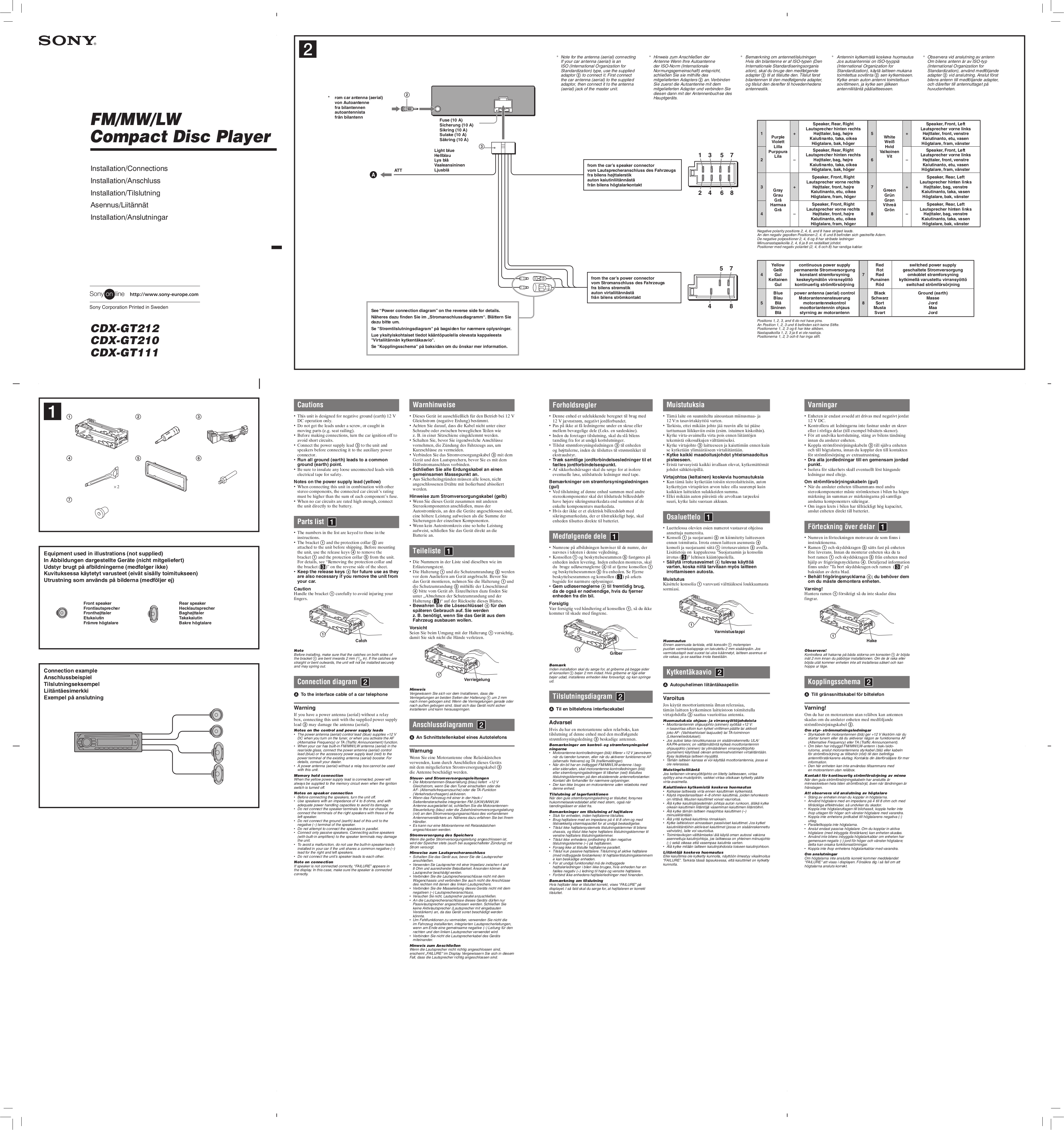 Sony Cdx Gt22w Gt32w User Electrical Wiring Diagram For 1998 Ford ...