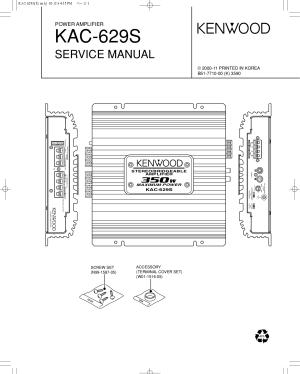 PDF manual for Kenwood Car Amplifier KAC629S