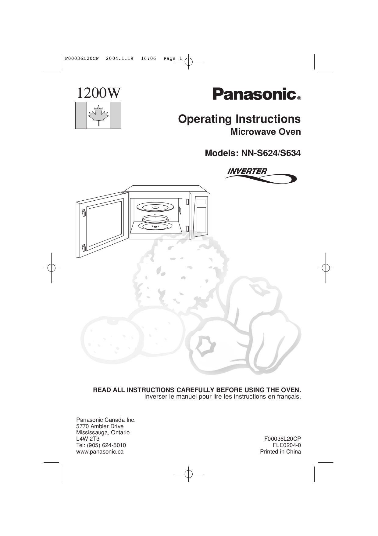 Panasonic Manual Microwave