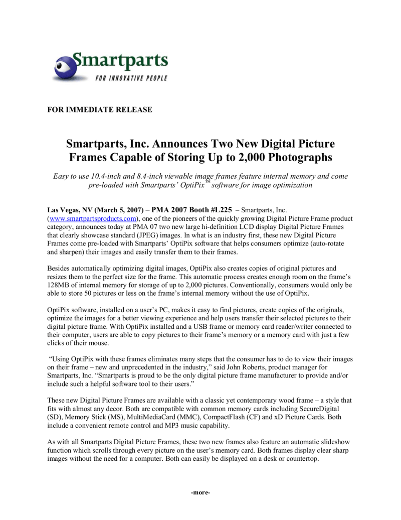 Smartparts Digital Picture Frame Instructions | Allframes5.org