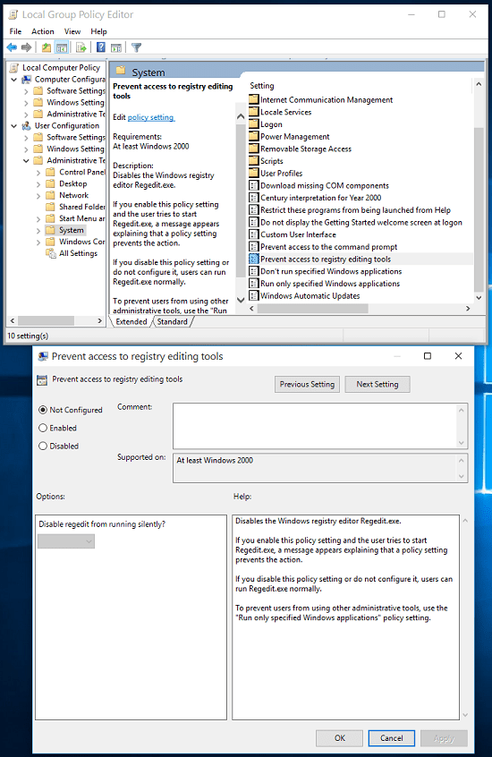 Enable Registry Editor in Group Policy