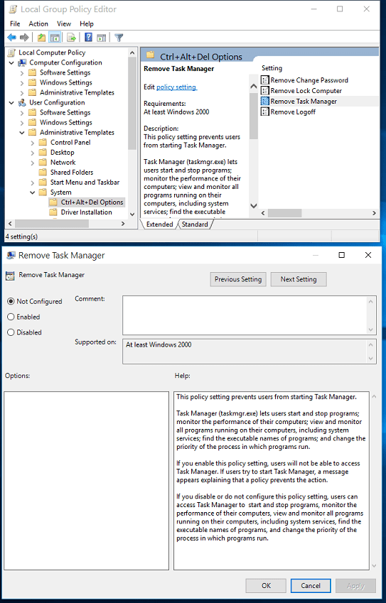 Enable Task Manager in Group Policy