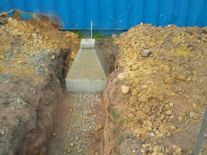 box removed and footing capped casting container footings concrete
