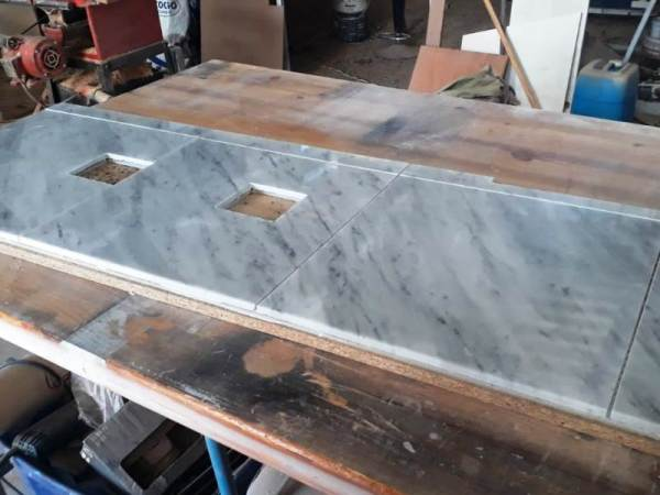 Kitchen back splash with marble tiles ready to install