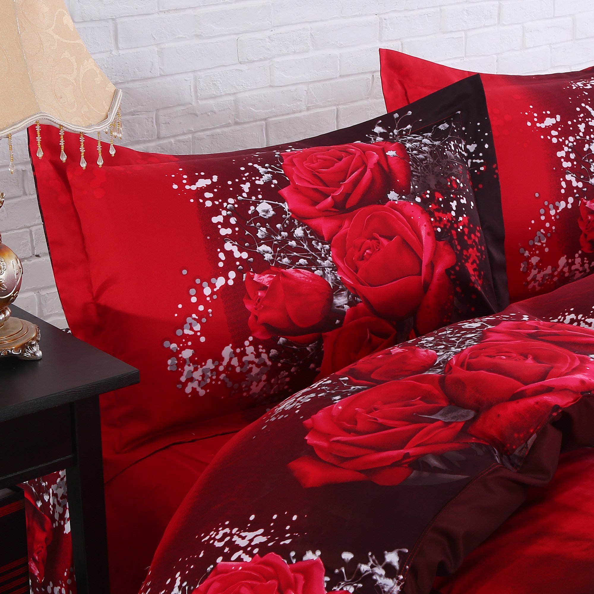 3D Red Rose Printing Cotton Luxury 4 Piece Bedding Sets