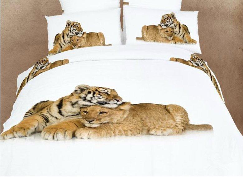 Heart-Warming Lion and Tiger Print 4 Piece Bedding Sets/Duvet Cover Sets