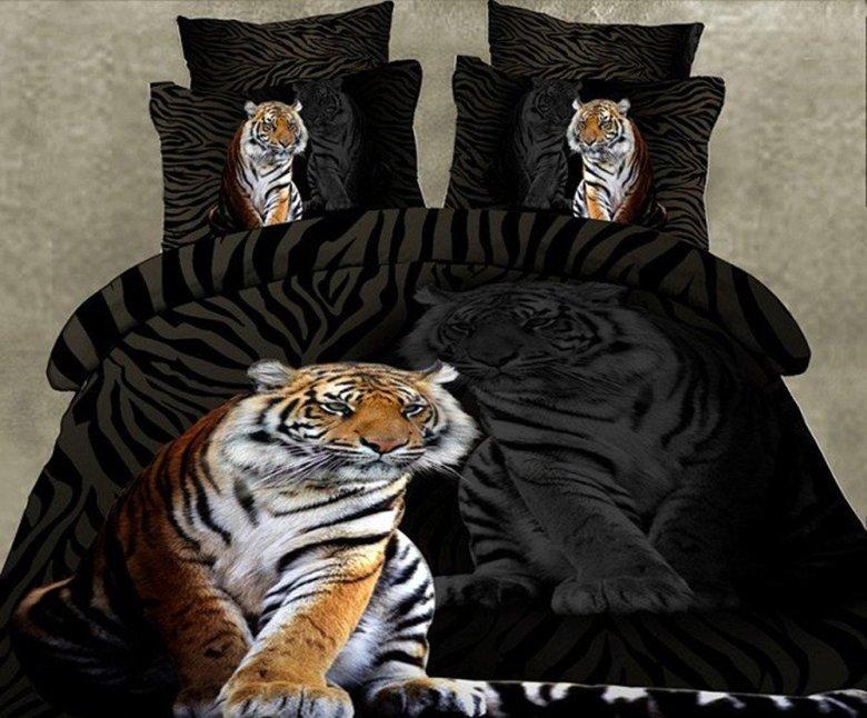 Skincare Tiger Print 4-Piece Polyester 3D Bedding Sets