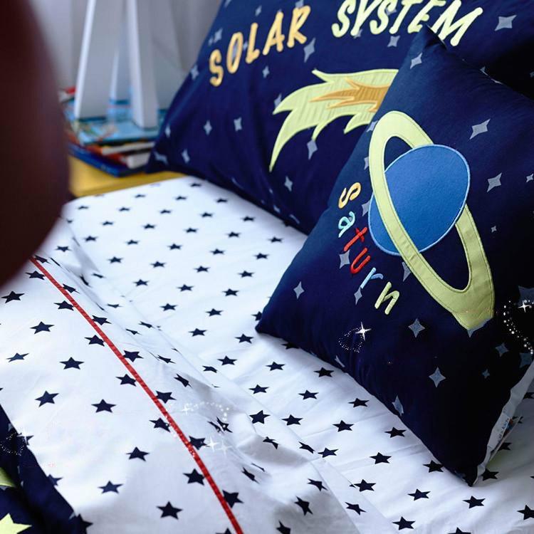 Solar System Pattern Cotton Boy 3 Piece Blue Duvet Covers