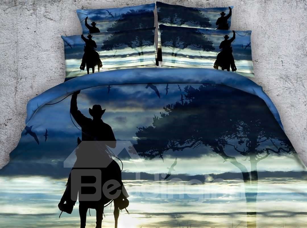 Cowboy On Horse Shadow Print 4 Piece Duvet Cover Sets